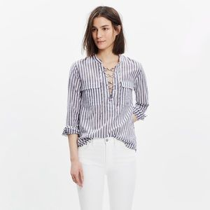 madewell striped terrace lace-up shirt in size XS